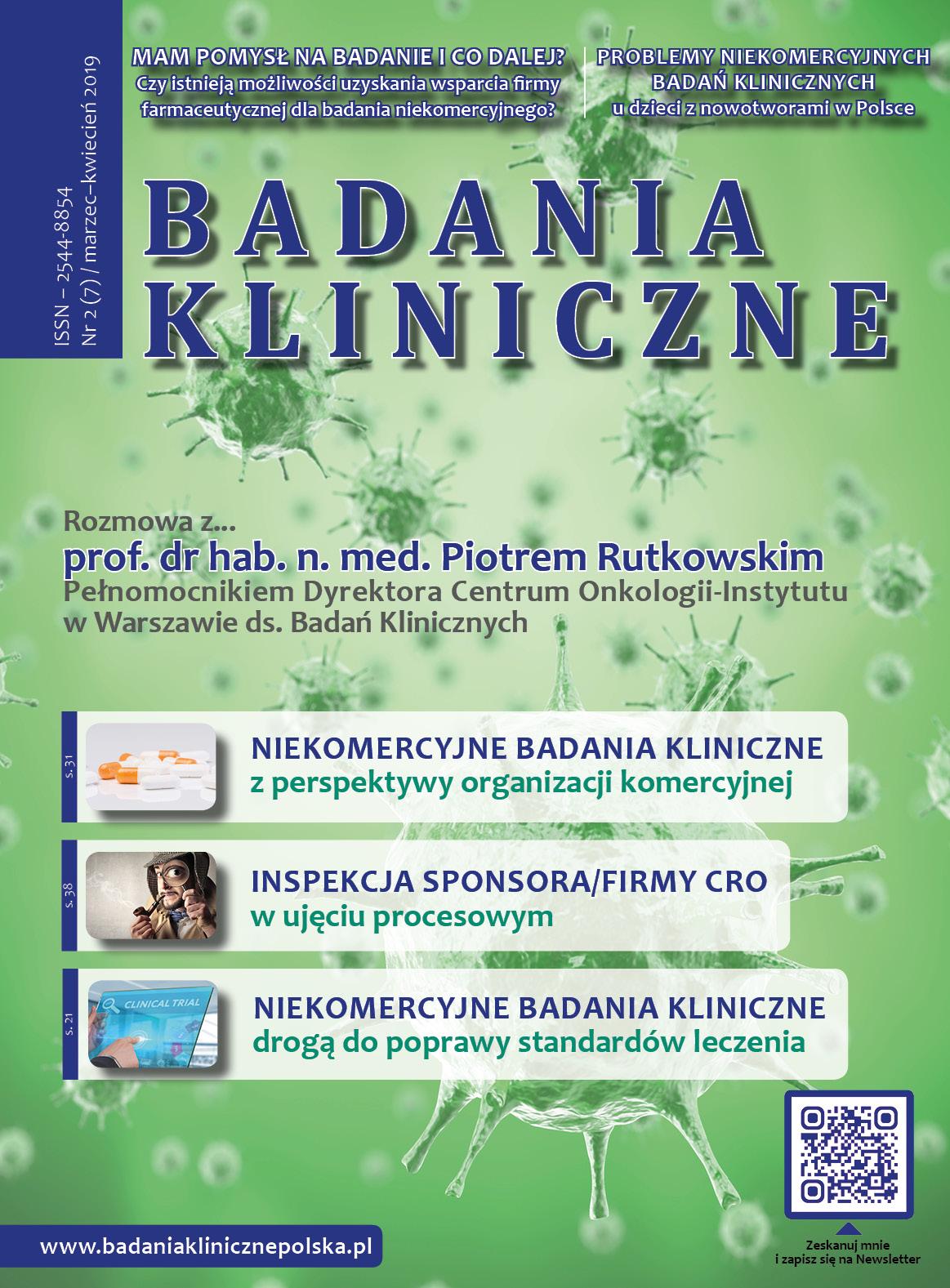 """okladka e Badania Kliniczne 2 2019 - Magazyn """"Badania Kliniczne"""""""