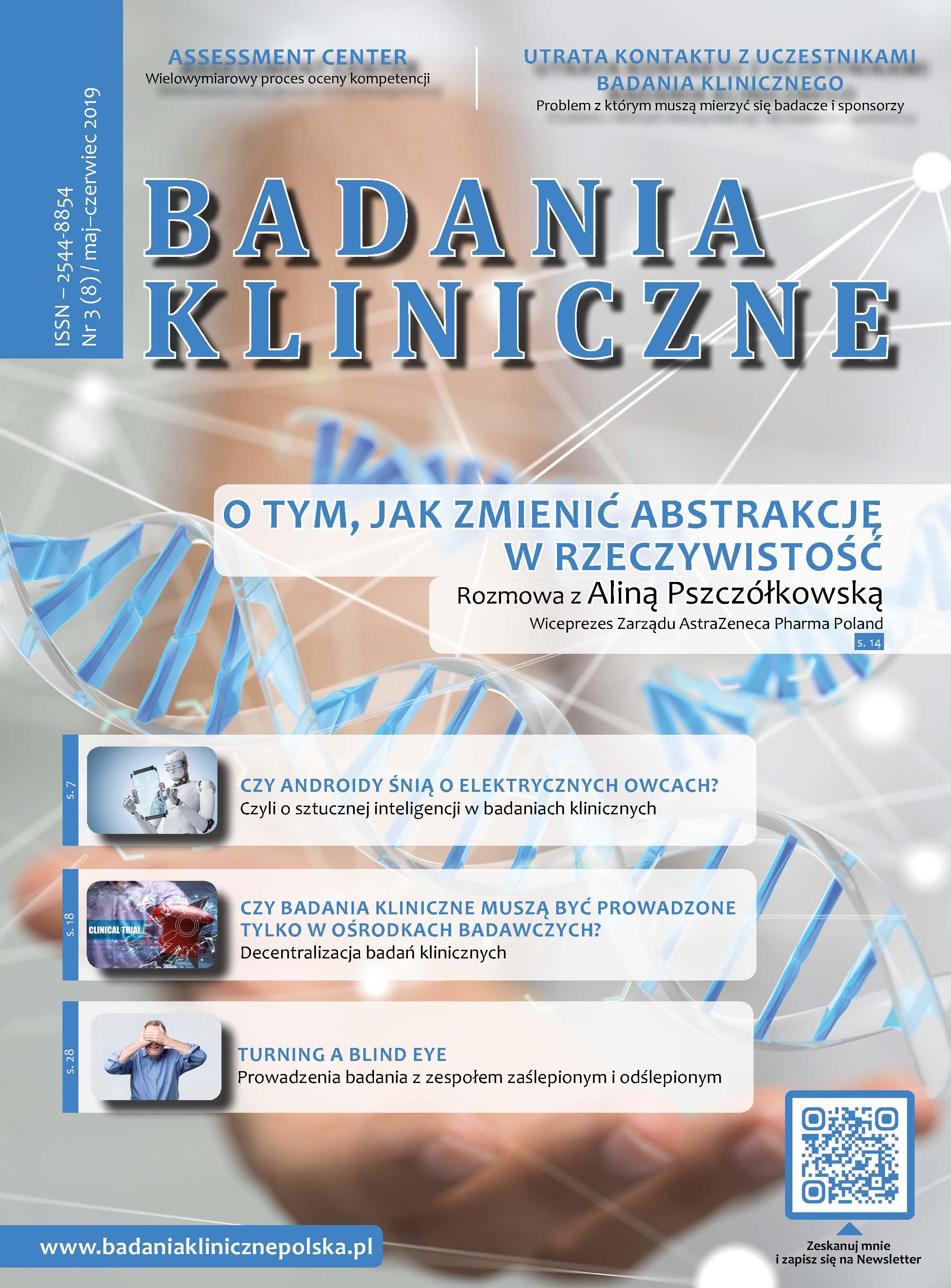"""okladka Badania Kliniczne 3 2019 - Magazyn """"Badania Kliniczne"""""""