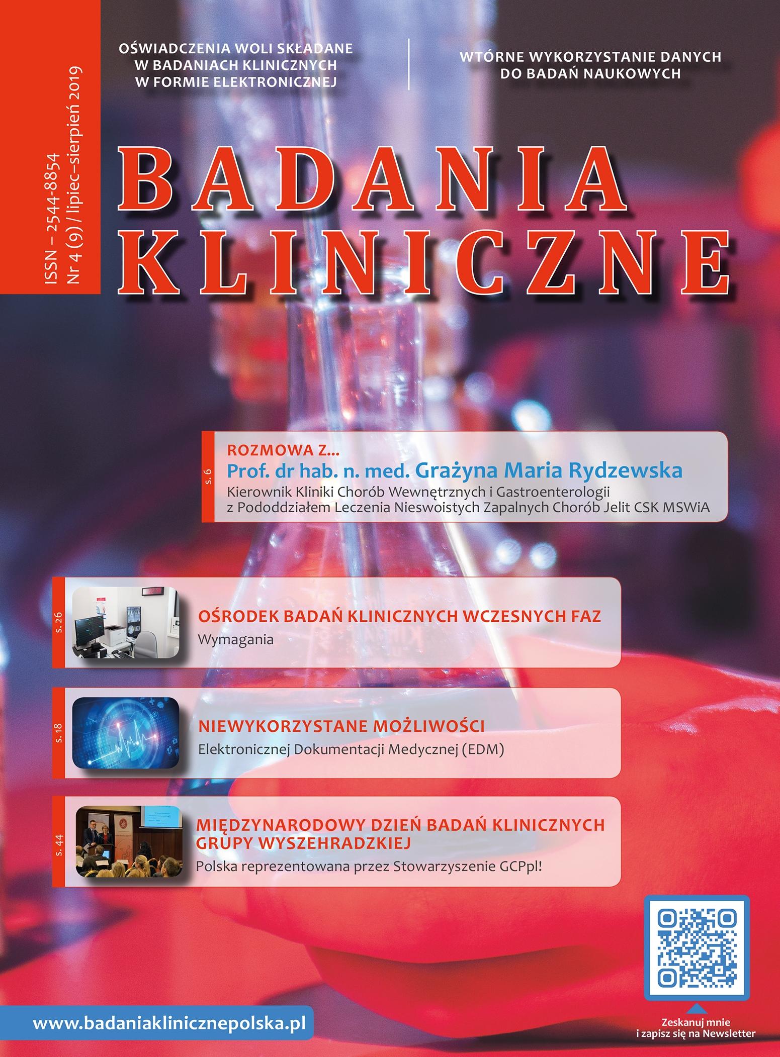 """okladka Badania Kliniczne 4 2019 - Magazyn """"Badania Kliniczne"""""""