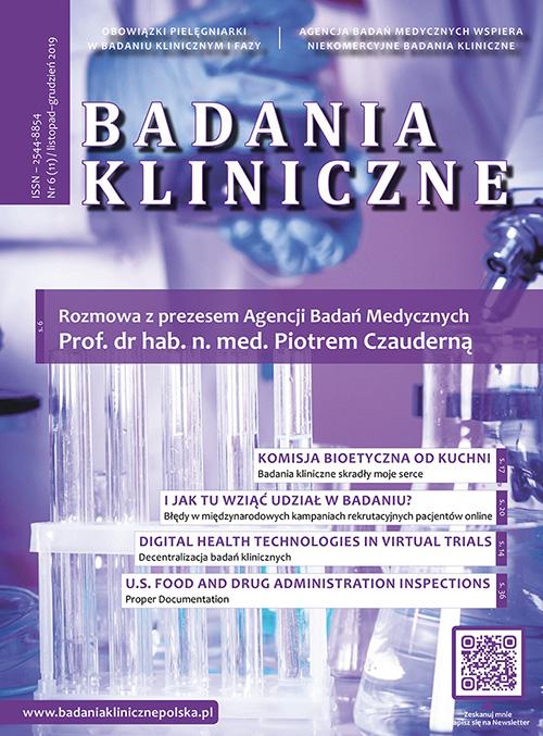 """Badania Kliniczne 6 2019 okladka - Magazyn """"Badania Kliniczne"""""""