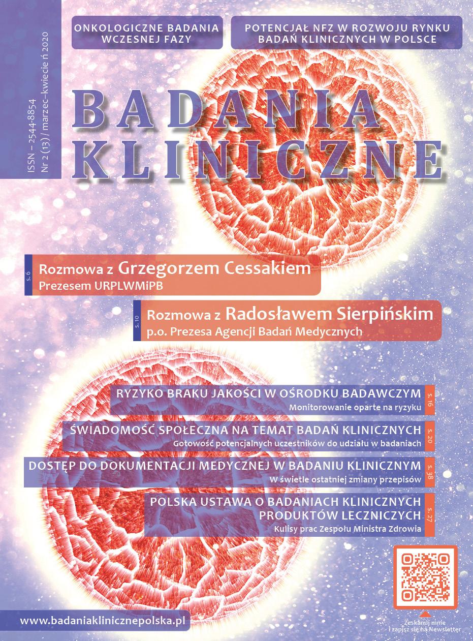 """okladka Badania Kliniczne 2 2020 - Czasopismo """"Badania Kliniczne"""""""