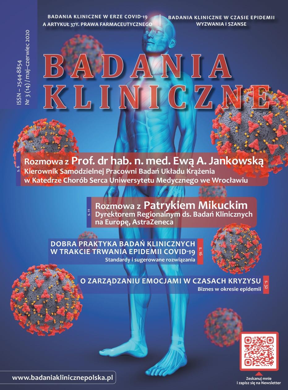 """okladka Badania Kliniczne 3 2020 - Czasopismo """"Badania Kliniczne"""""""