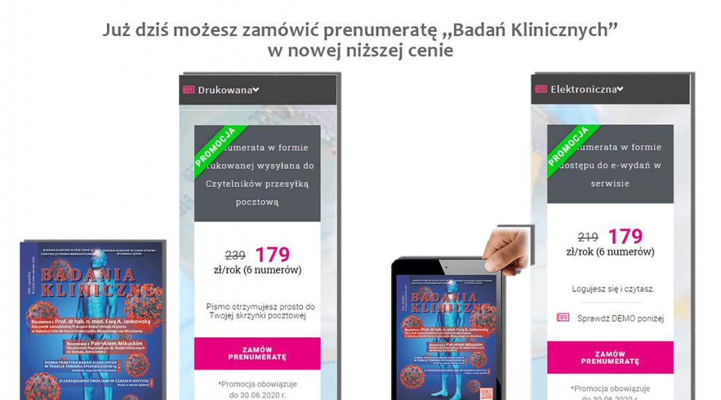 """promocja maj 2020 1038x576 - Prenumerata """"Badań Klinicznych"""" w nowej, niższej cenie"""