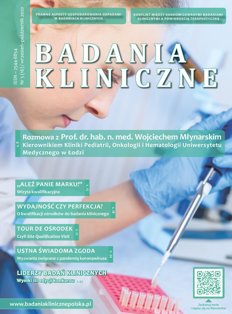 """okladka Badania Kliniczne 5 2020 - Czasopismo """"Badania Kliniczne"""""""