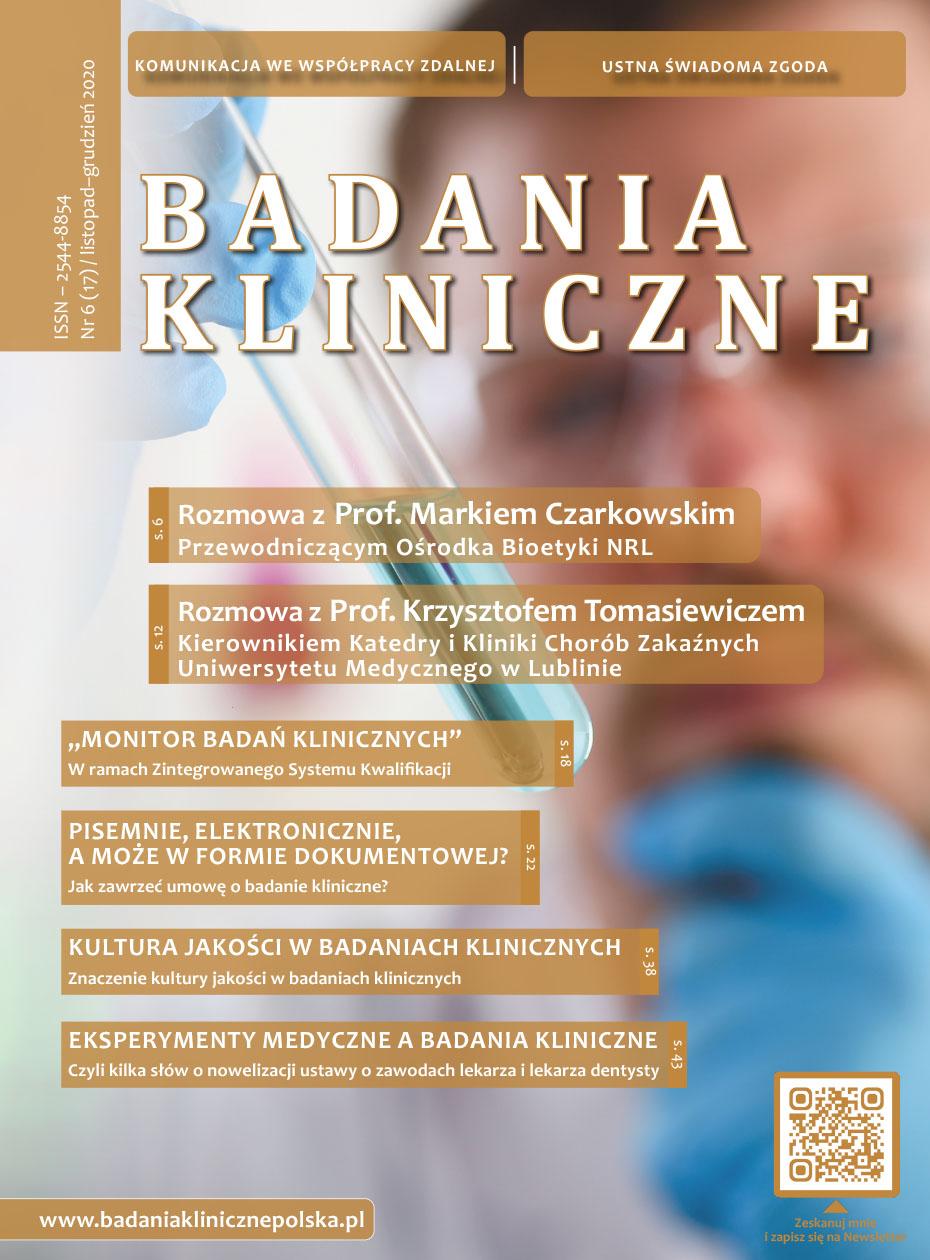 """okladka Badania Kliniczne 6 2020 - Czasopismo """"Badania Kliniczne"""""""