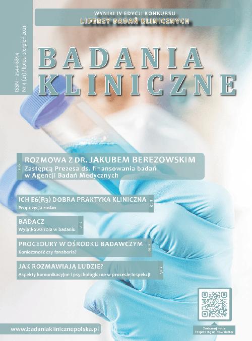 """okladka Badania Kliniczne 4 2021 - Czasopismo """"Badania Kliniczne"""""""